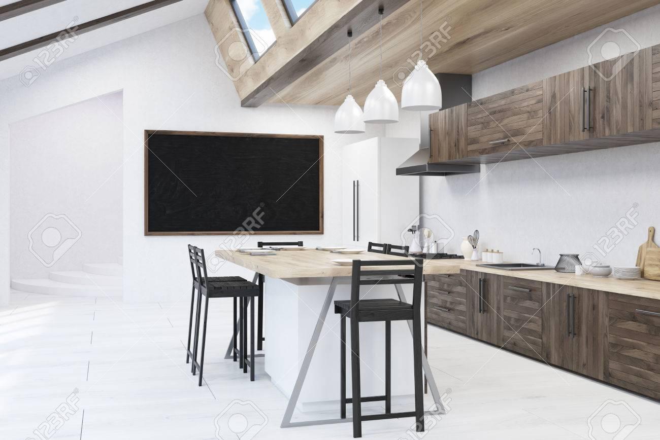 Tableau Noir Deco Pour Cuisine cuisine avec tableau noir. tabourets autour de la table à manger, des  compteurs. concept de décoration pour la maison. rendu 3d. maquette