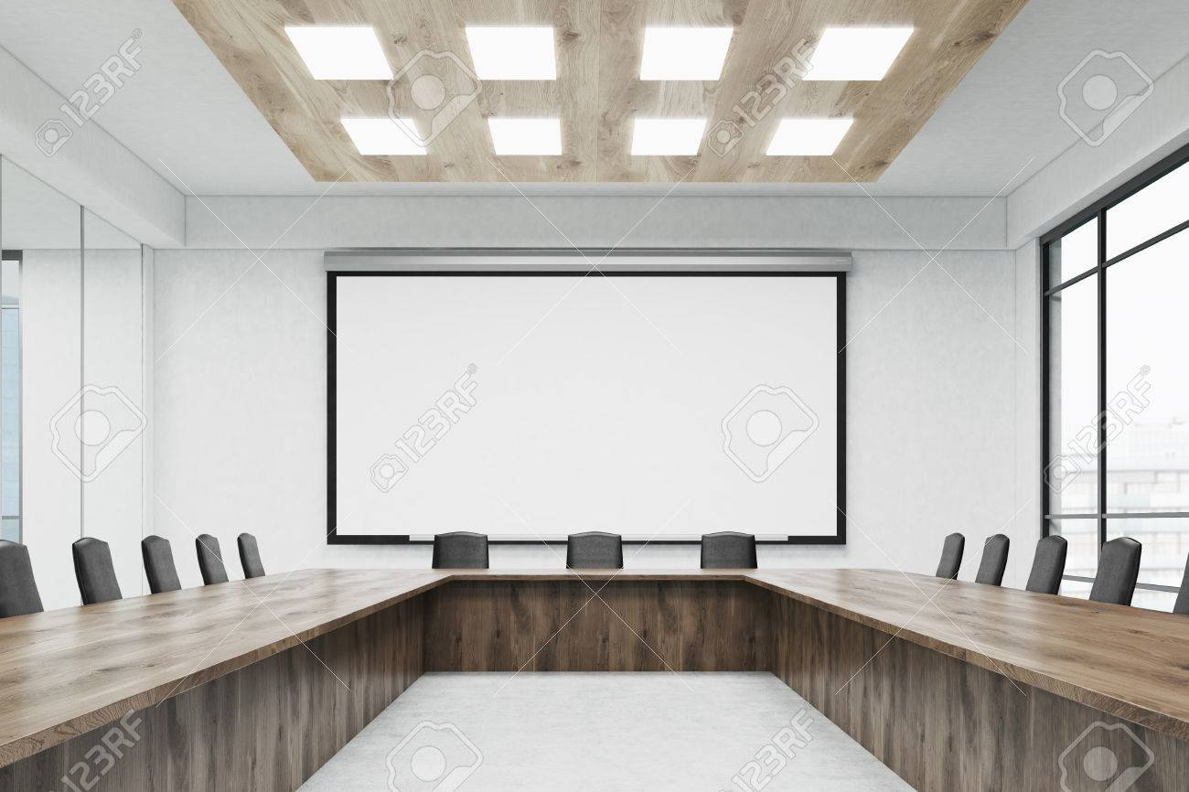 Conference Room Interior With Large Wooden Table Office Chairs - Large wooden conference table