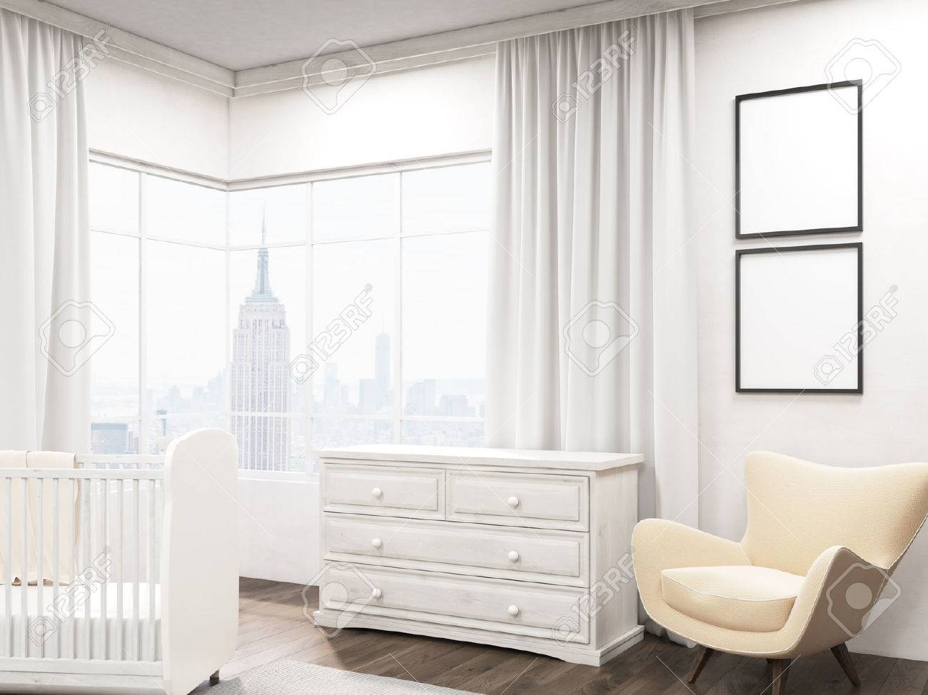 Baby room interior with new york city view two posters on walls