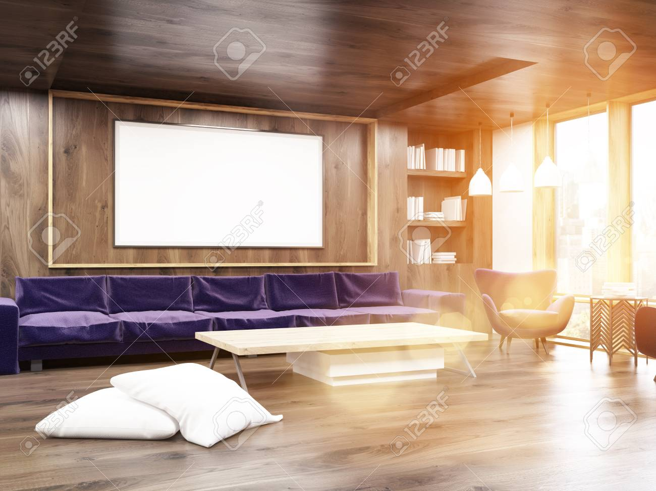 Interior Of Living Room With Long Sofa Bookcase Low Wooden