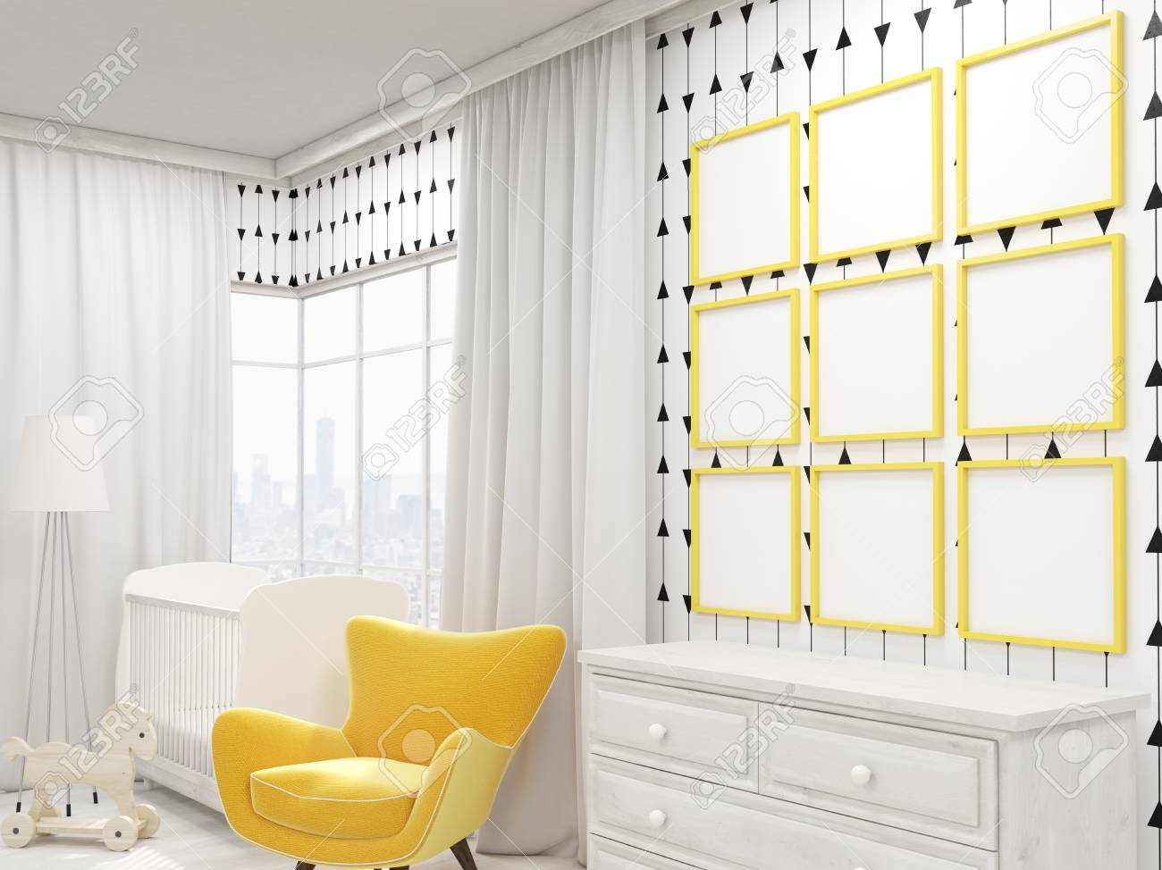 photo cozy nursery with yellow armchair cot and photo gallery on wall nine pictures concept of good design