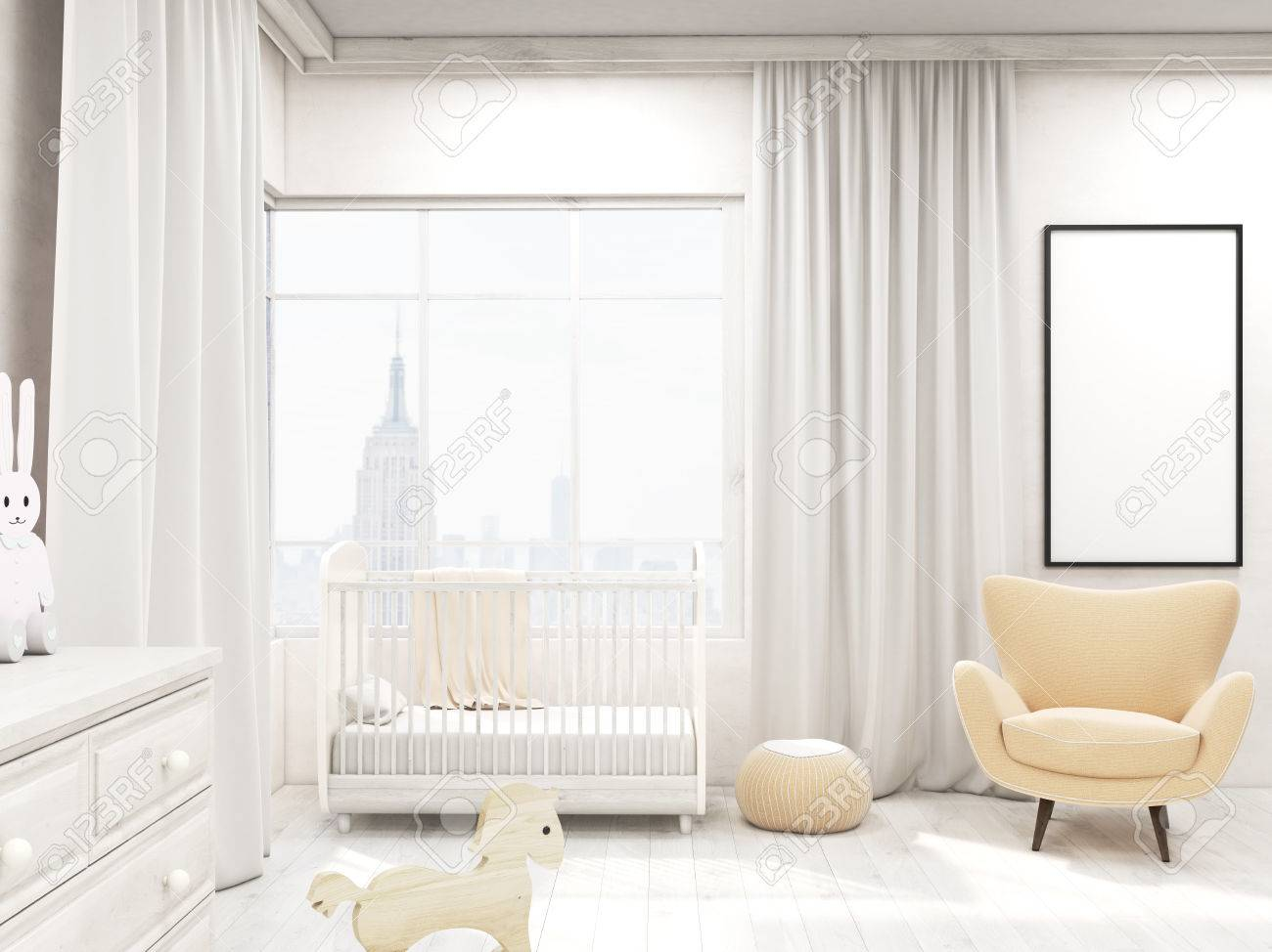 photo nursery in modern new york home with cot armchair frame wardrobe and poster on wall concept of styli
