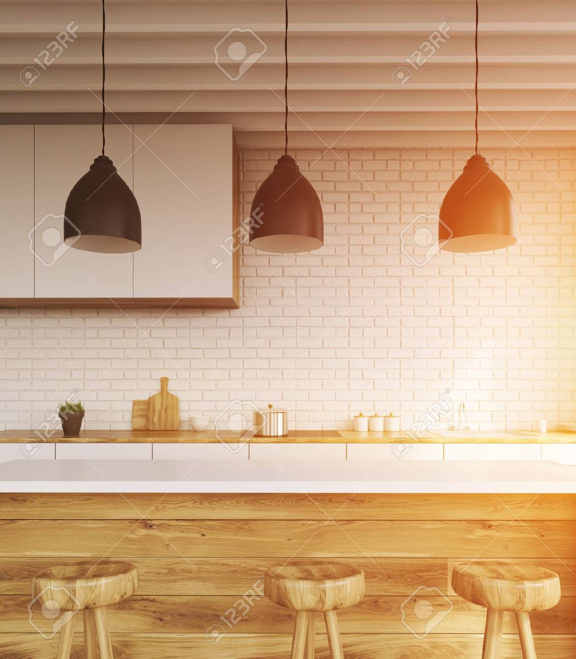Bar Counter In Kitchen With Stools, Brick Walls, Cupboard And ...