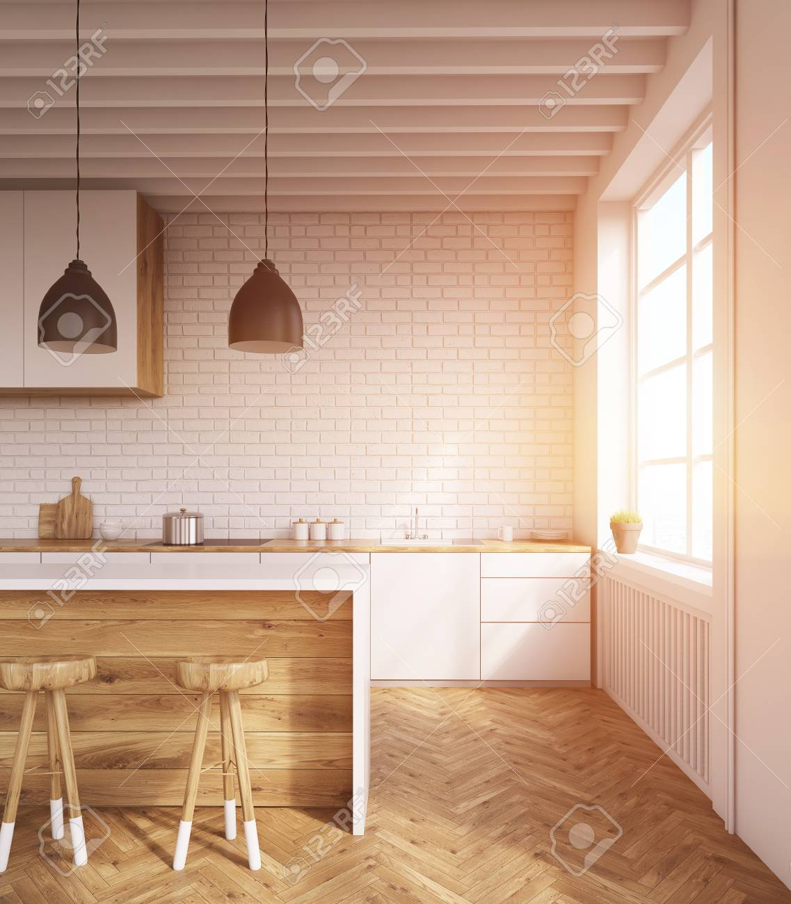 Kitchen Interior With Wooden Furniture, Large Window And Bar ...