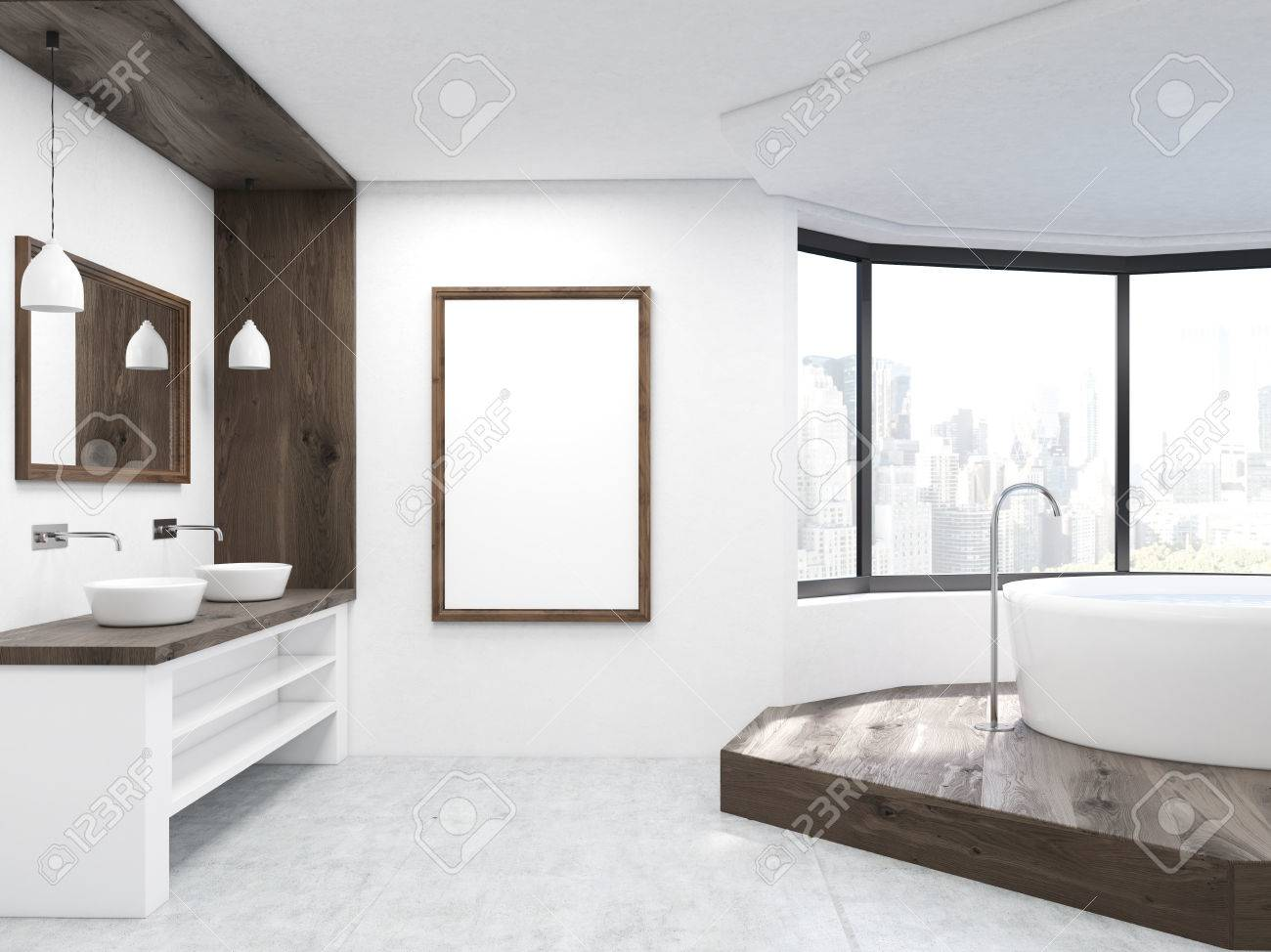 Grand intérieur de salle de bains avec l\'image verticale, lavabo et  baignoire ronde. Vue de New York City. Concept de détente et de la maison.  rendu ...