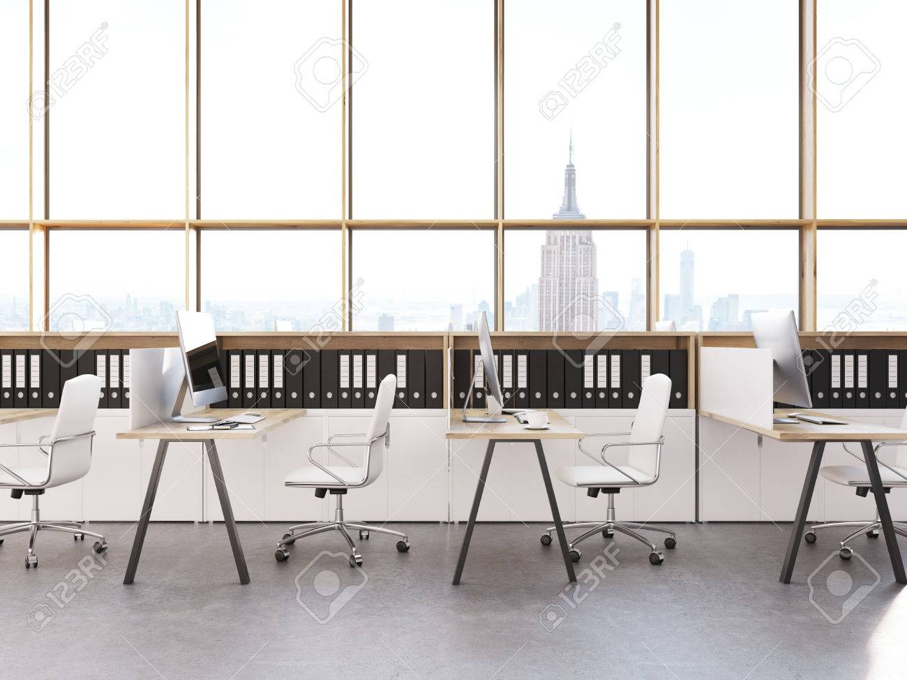 modern firm office interior with large panoramic windows new