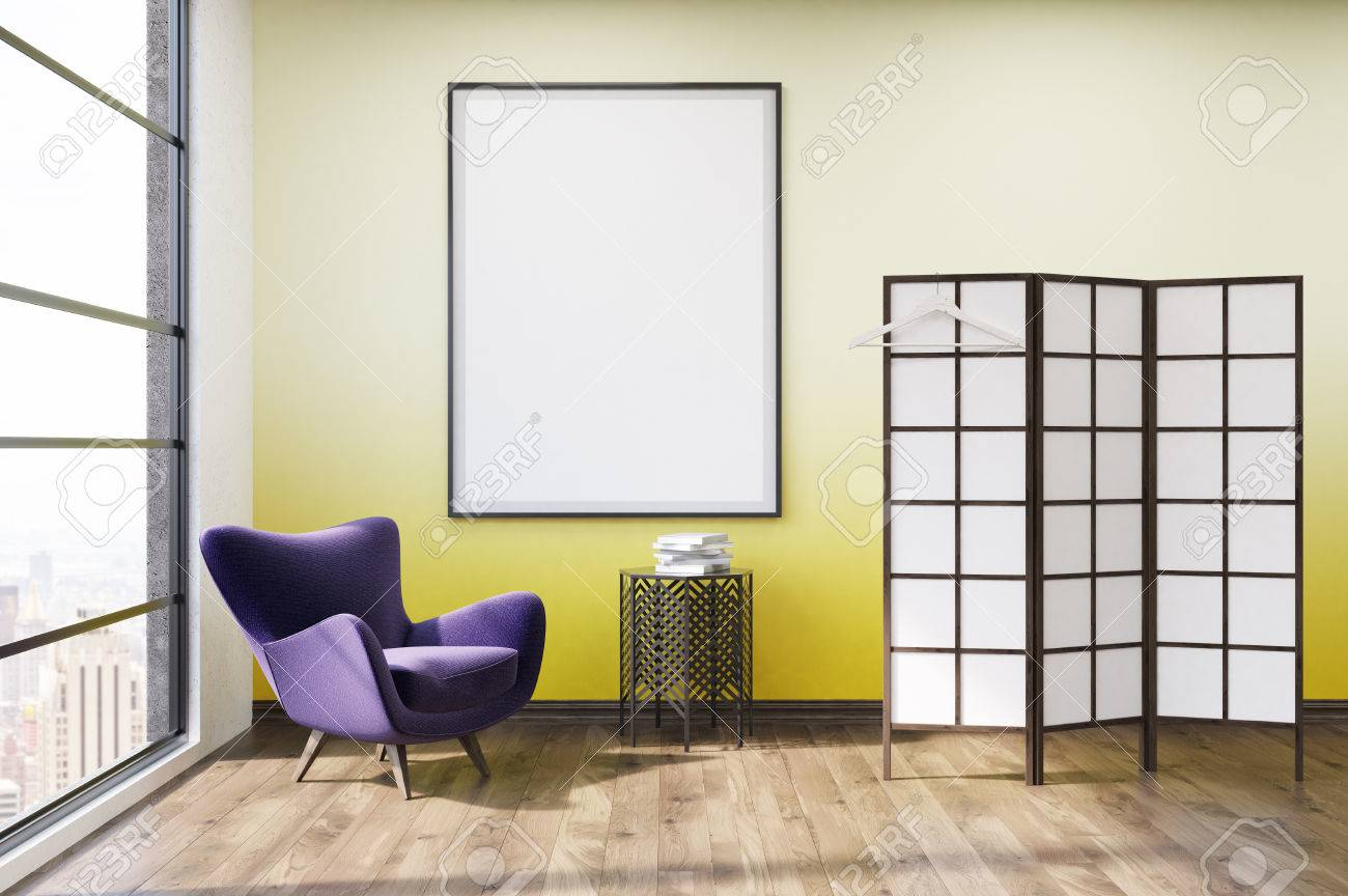Living Room With Yellow Wall, Purple Armchair, Wooden Coffee.. Stock ...