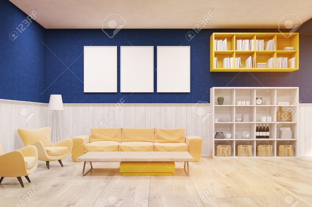 Salon Interior Con Paredes Azules Y Blancas Suelo De Madera Y Un - Salon-madera