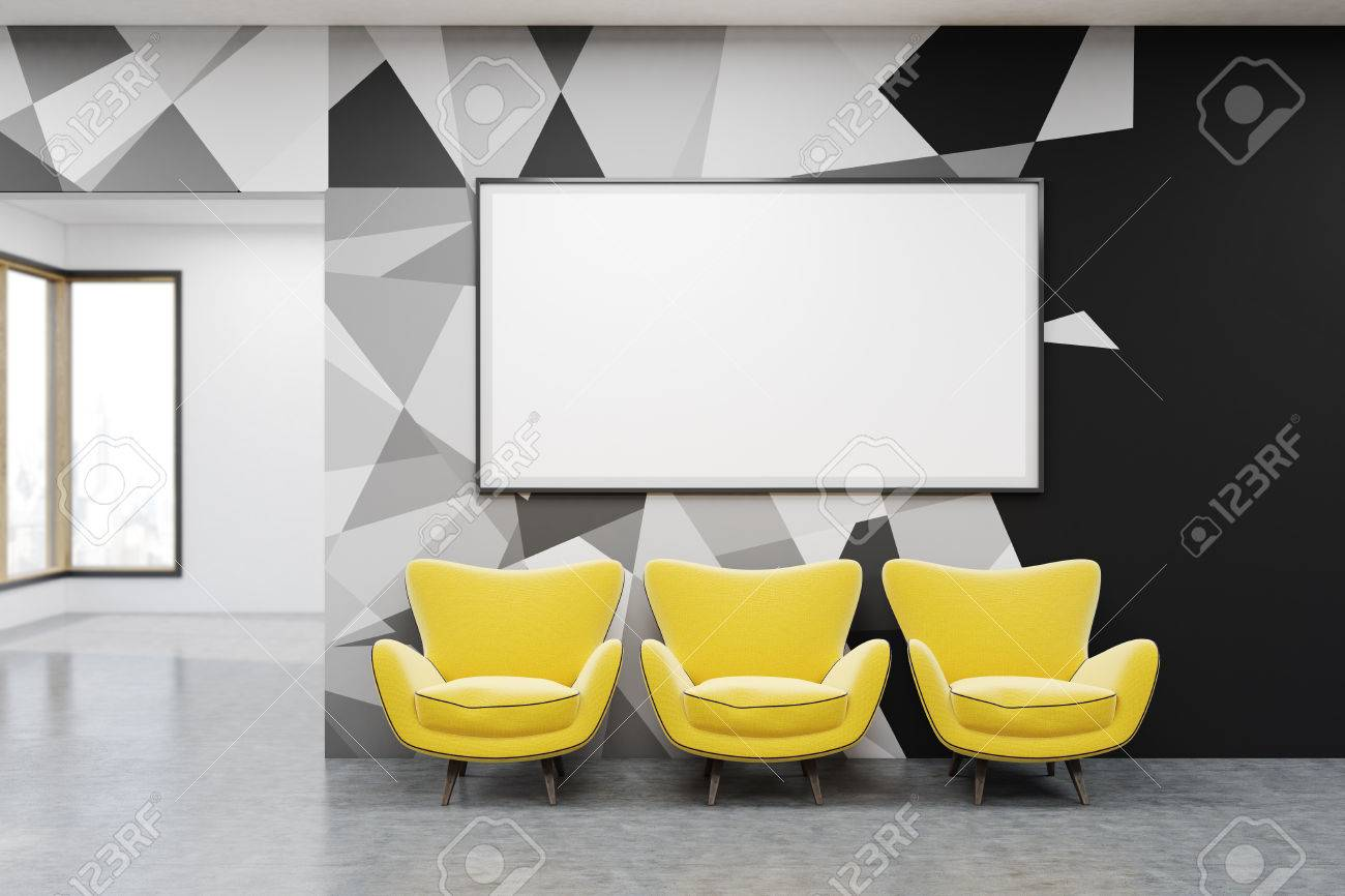whiteboard for office wall. Office Lobby With Whiteboard, Three Yellow Chairs And Beautiful Walls. Concept Of Brainstorming. Whiteboard For Wall