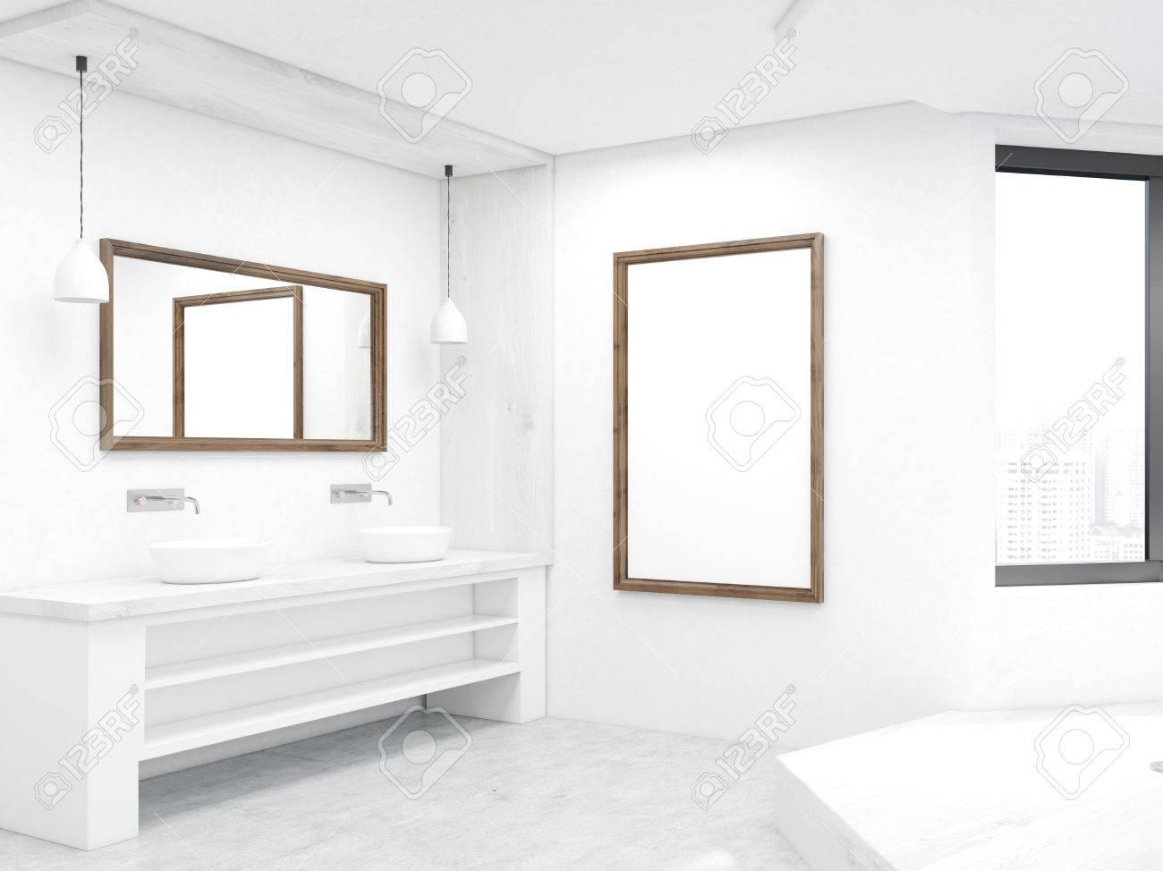 Cuarto de baño de esquina con dos fregaderos, podio, espejos y ventanas.  Concepto de limpieza y placeres del cuerpo. Las 3D. Bosquejo.