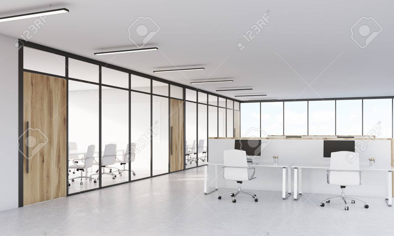 office with cubicles. Conference Room With Glass Walls And Office Cubicles Computers On  White Tables. Concept S