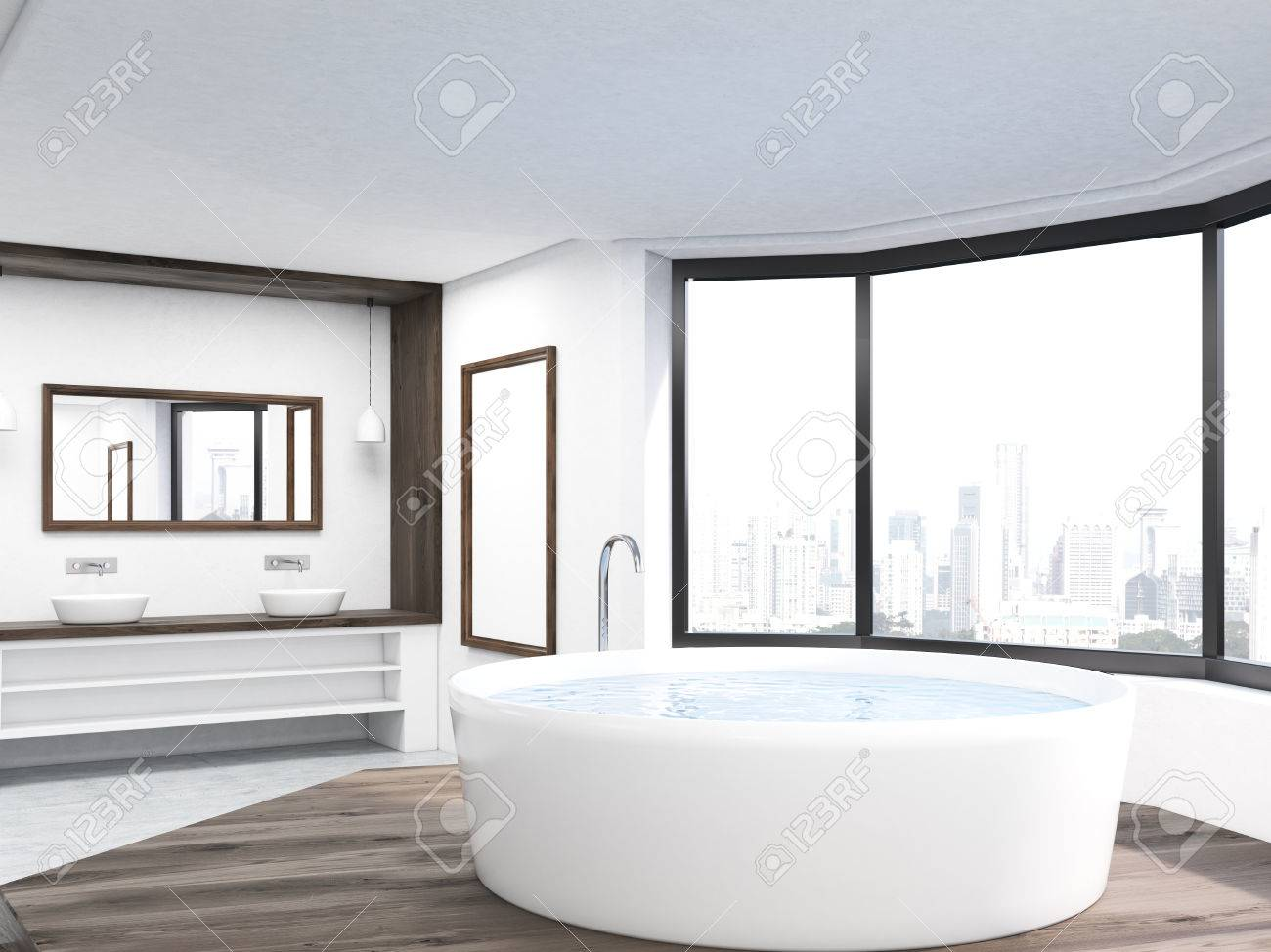Salle De Bain Avec Baignoire intérieur salle de bains avec baignoire ronde, deux lavabos et new york vue  sur la ville à travers la fenêtre panoramique. concept de soins