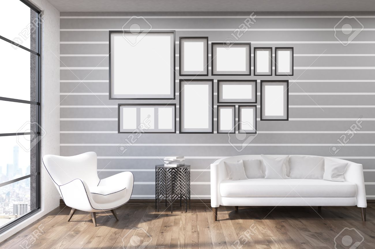 Standard Bild   Wohnzimmer Mit Grauen Und Weißen Wände, Große Fenster, Weiße  Möbel Und Bildergalerie. Konzept Der Modernen Hausdekoration Tendenzen.