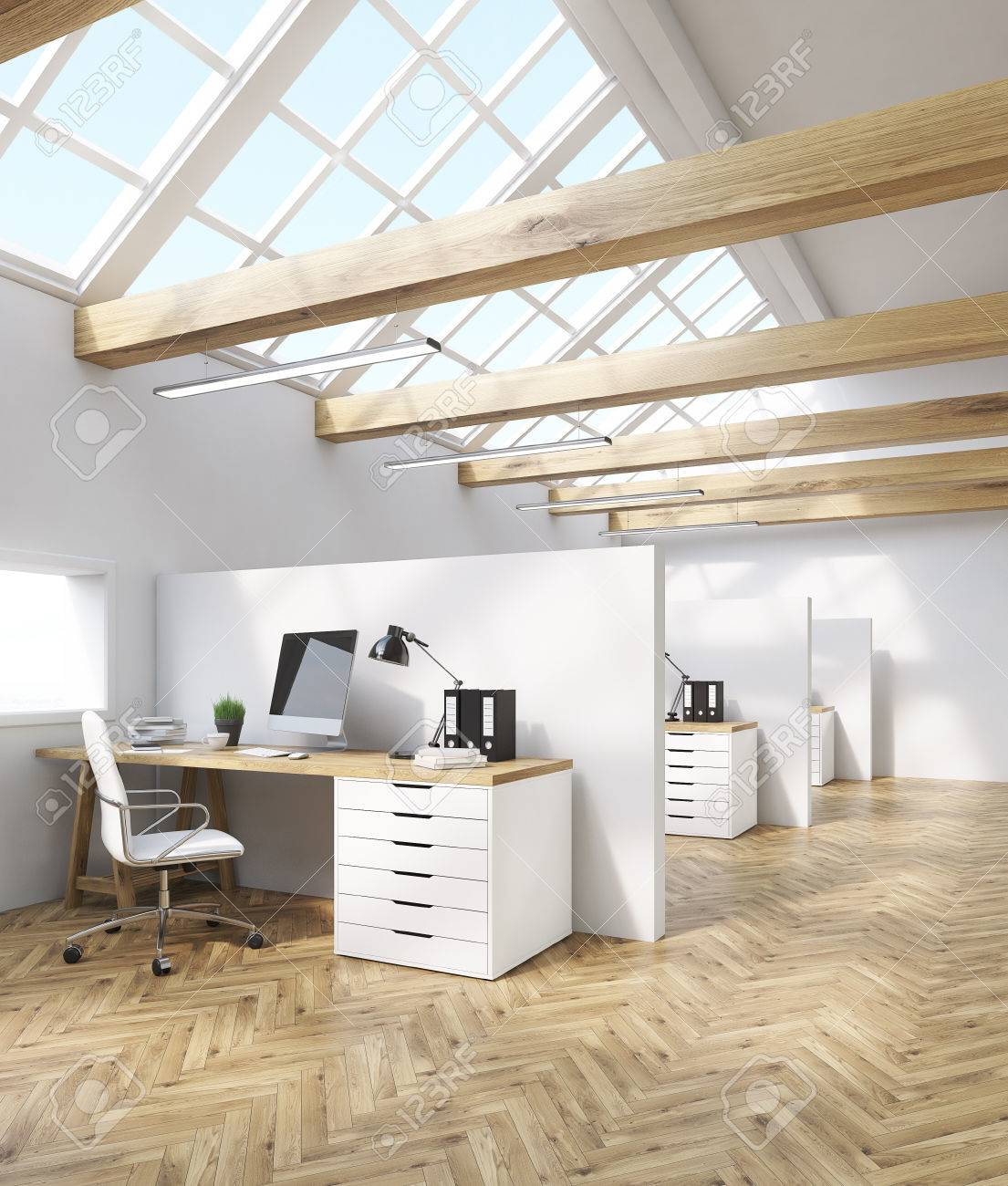 Cubicles in office in attic. Wooden beams computer tables with desktops and leather armchairs & Cubicles In Office In Attic. Wooden Beams Computer Tables With ...
