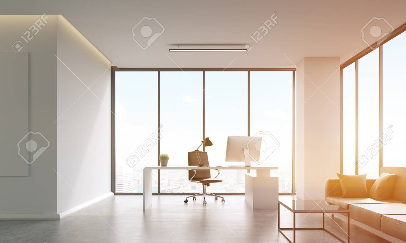 Boss\'s Office Room With Table, Sofa, Computer, Coffee Table And ...