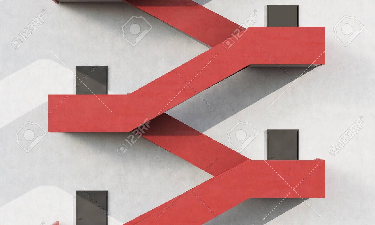 Nahaufnahme Von Roten Treppen Auf Moderne Gebäude Wand. Lange ...