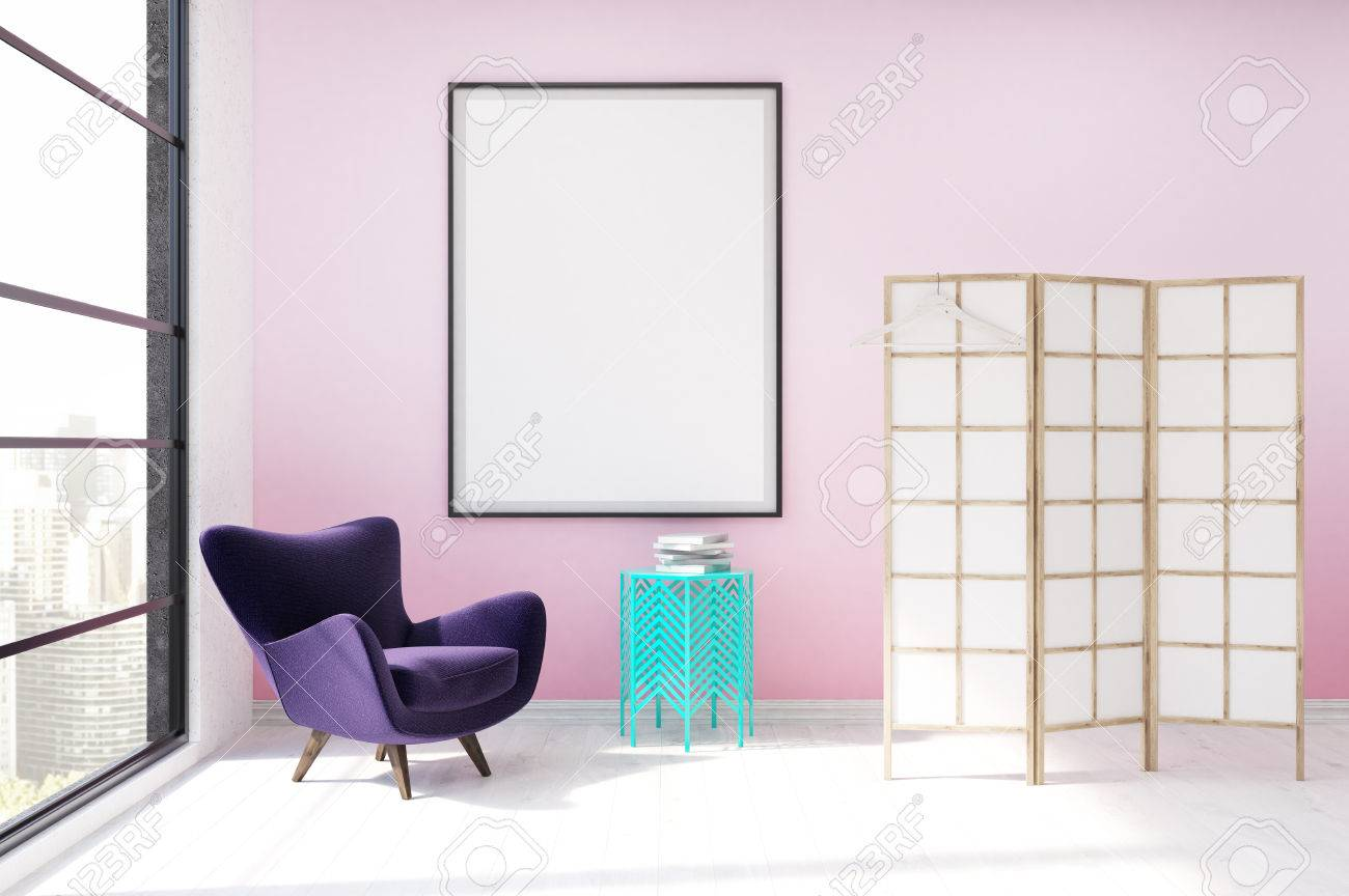 Modern Dressing Room Interior In Luxury Apartment. Purple Armchair, White  And Yellow Screen,
