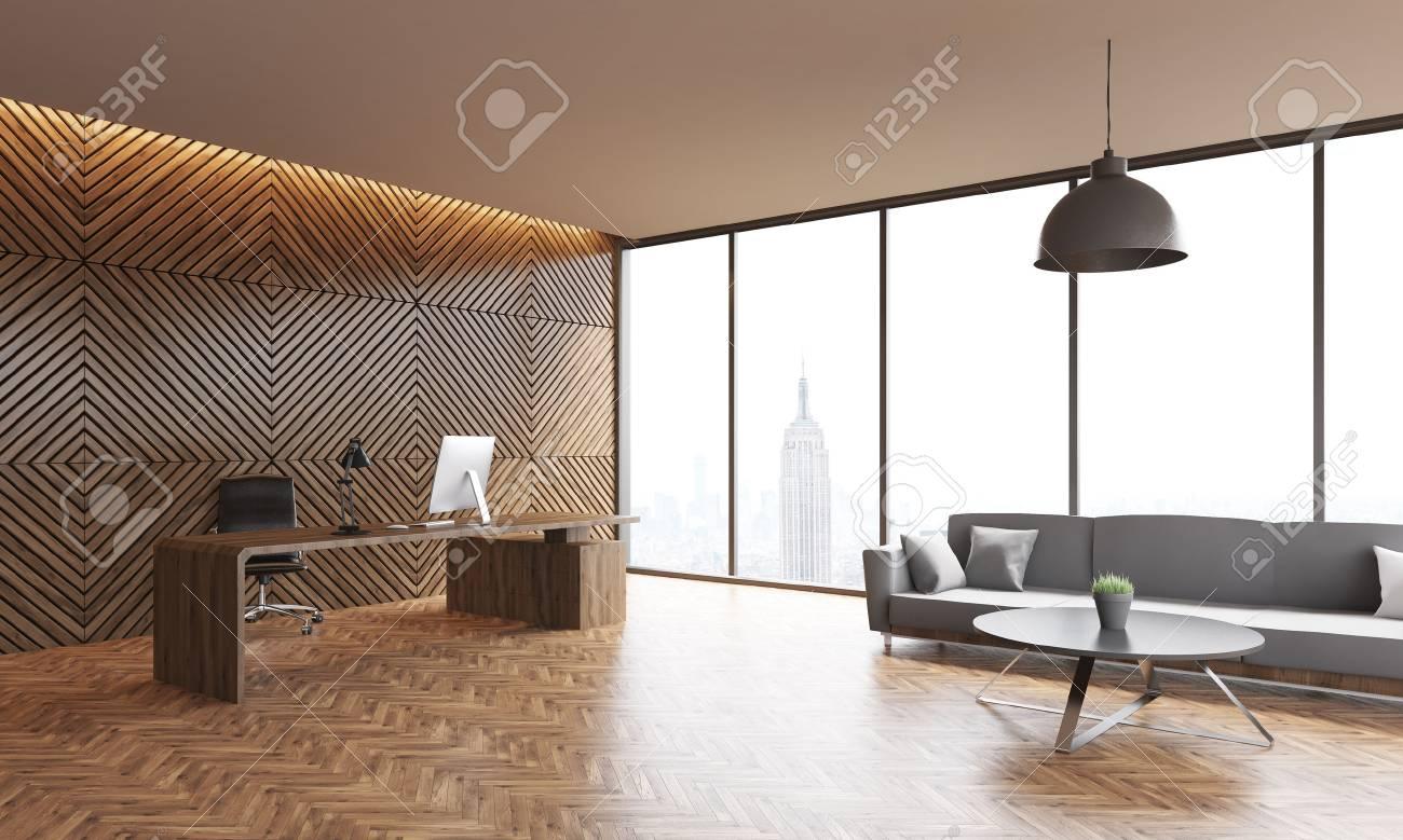 Büro-Interieur Mit Holzwänden Und Parkettboden. Panoramafenster ...