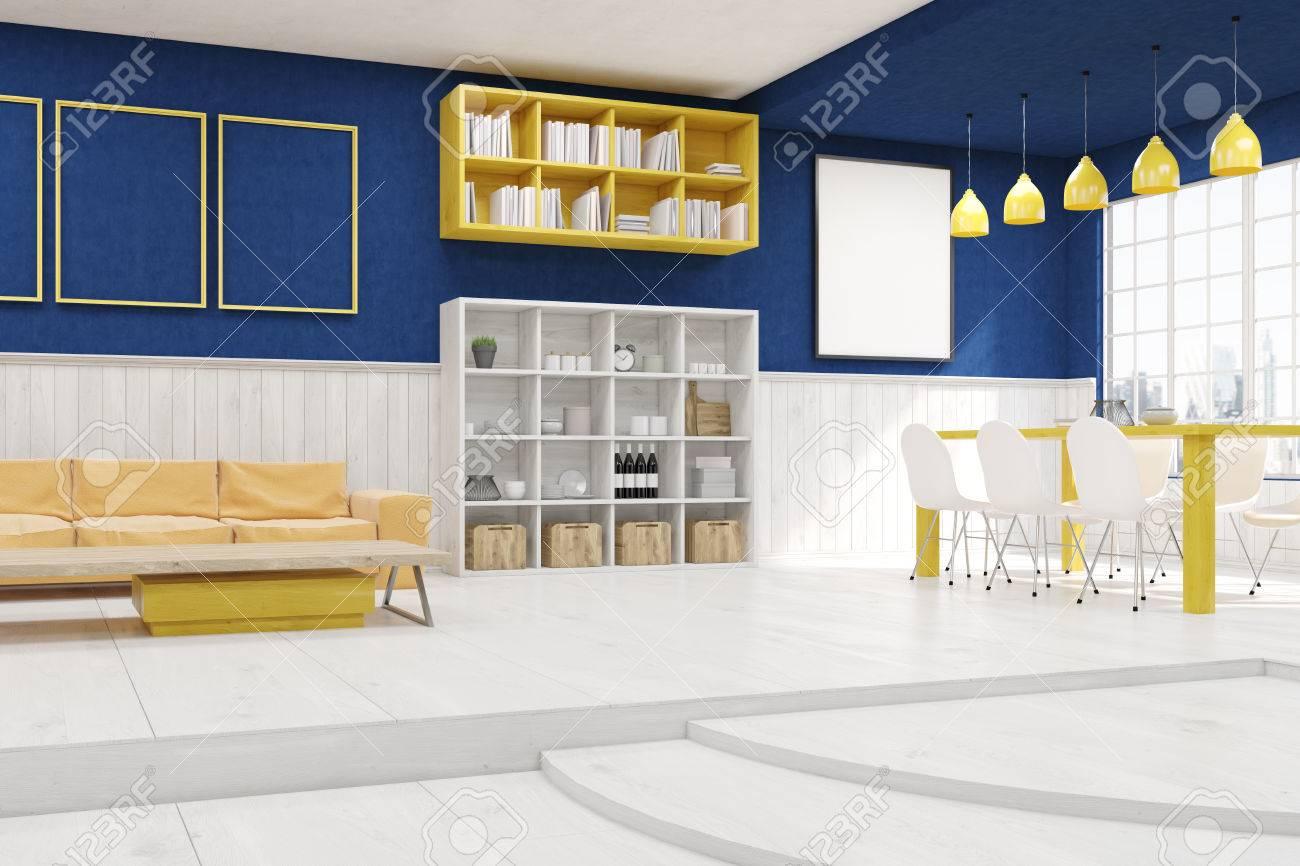 Standard Bild   Wohn  Und Esszimmer Mit Treppen, Blaue Und Weiße Wände,  Beige Sofa Und Regale. Konzept Der Modernen Wohnung. 3D Rendering.