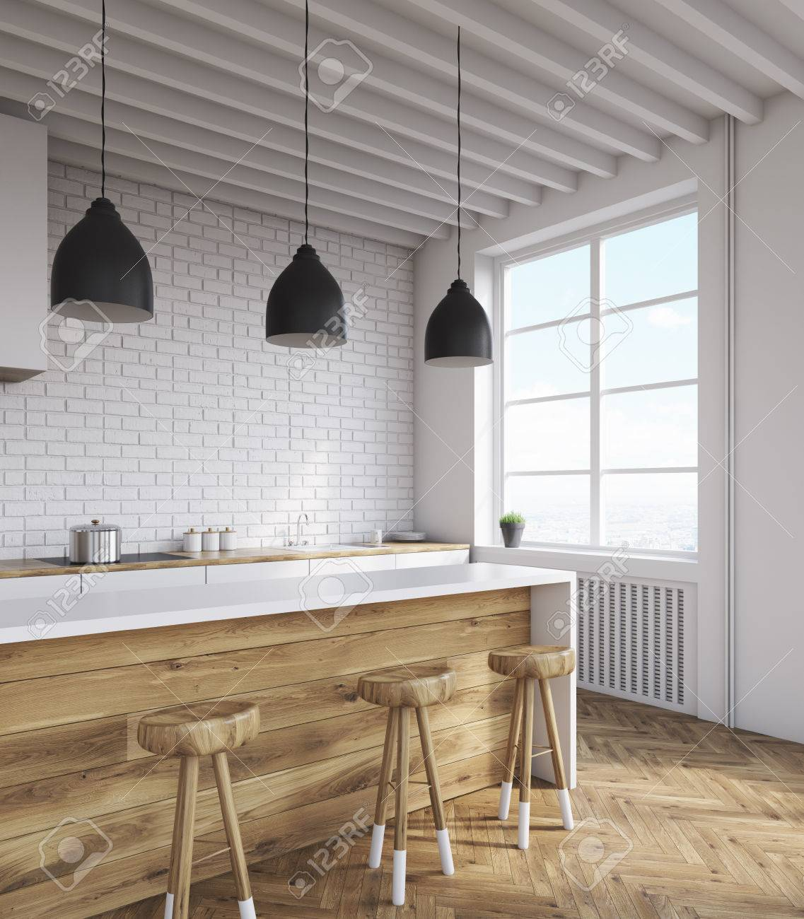Kitchen Corner With White Brick Walls, Large Window, Ceiling.. Stock ...