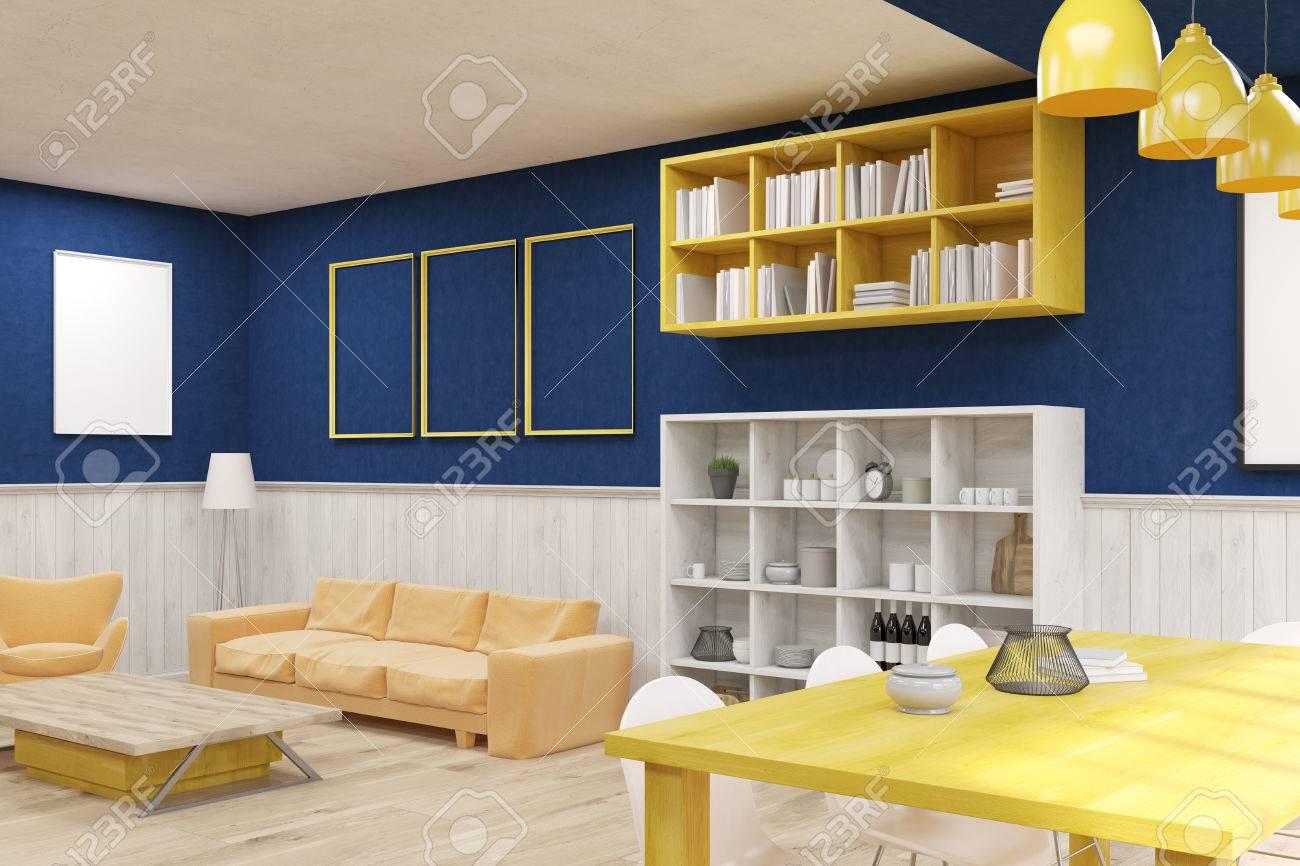 Confortable Salon Avec Des Meubles Modernes. Canapé, étagères ...