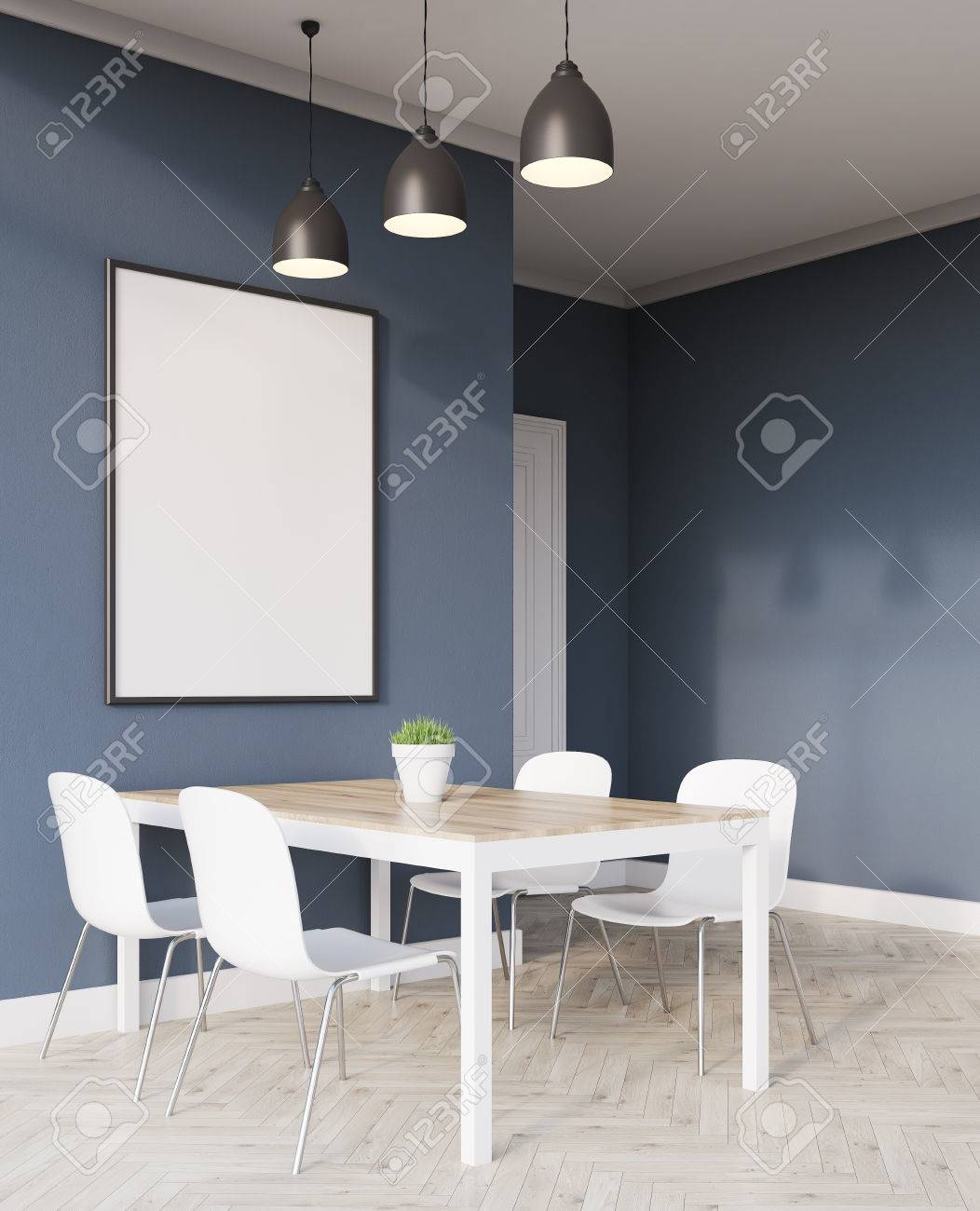 Morning In Modern Flat. Side View Of Dinner Table And Poster Hanging On  Dark Blue
