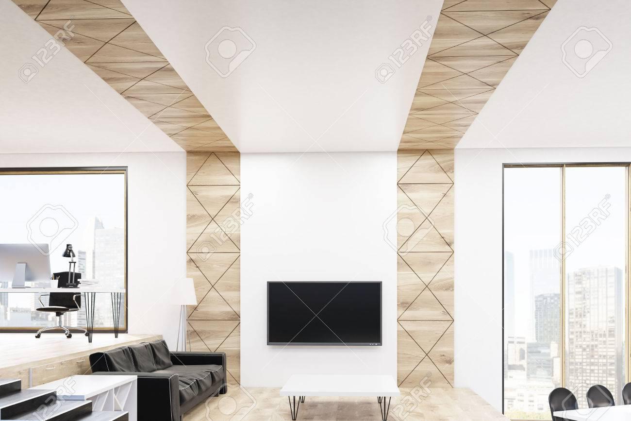 Vivre intérieur de la chambre avec bureau à domicile espace détente