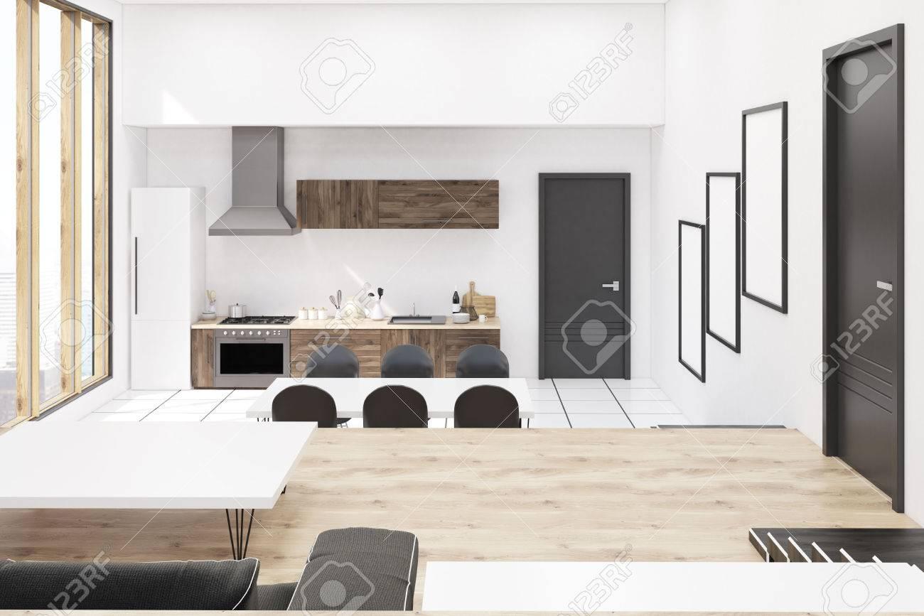 Frontansicht Der Küche Im Modernen Studio Apartment Mit Panoramafenstern.  Konzept Der Gemütlichen Heimat.
