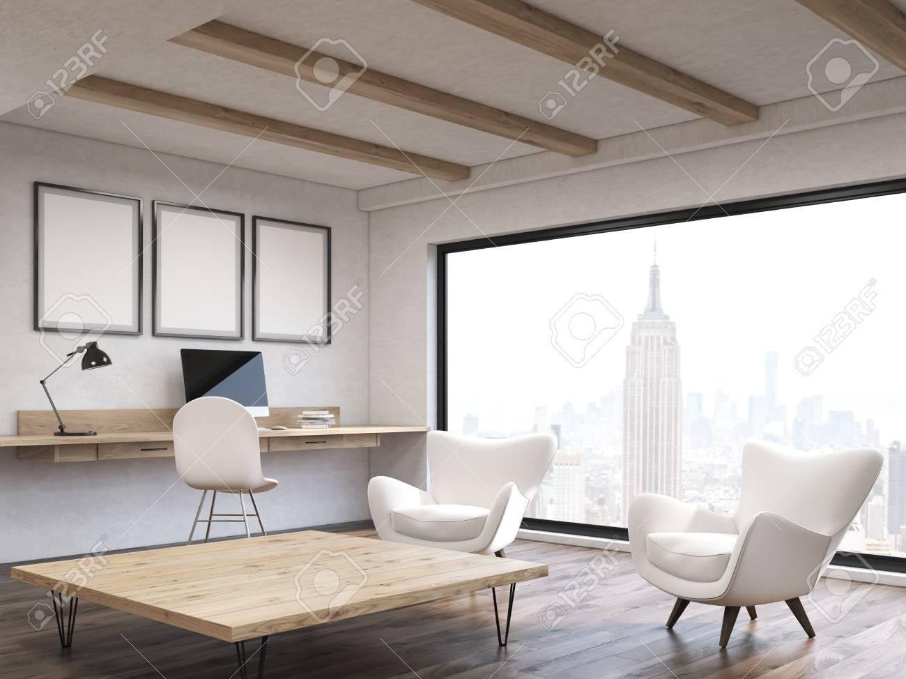 Bureau à domicile dans moderne new york city appartement avec coin
