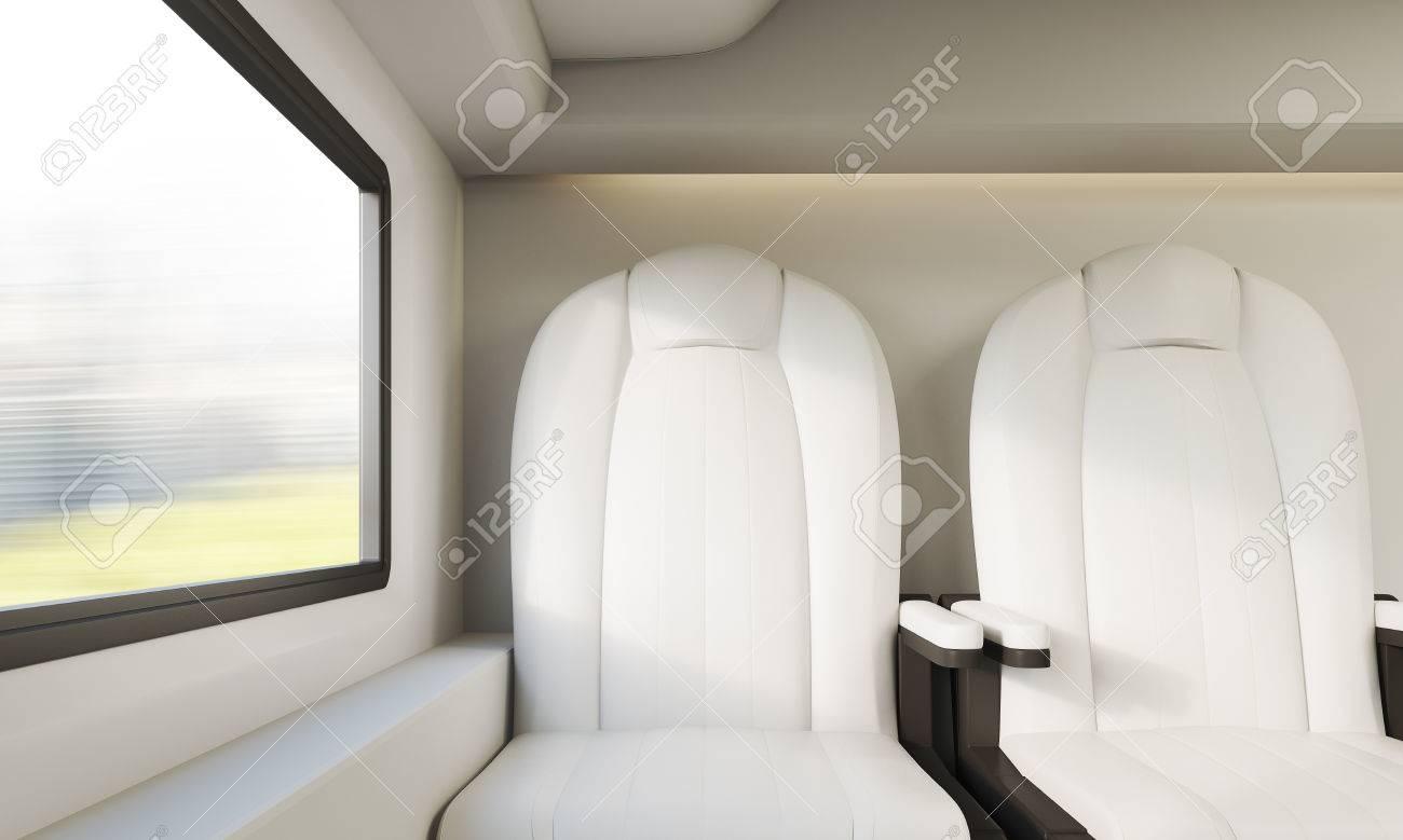 Twee Witte Leren Fauteuils.Twee Witte Lederen Fauteuils In De Buurt Van Een Klein Venster In De Moderne Treincoupe Concept Van Het Openbaar Vervoer 3d Rendering