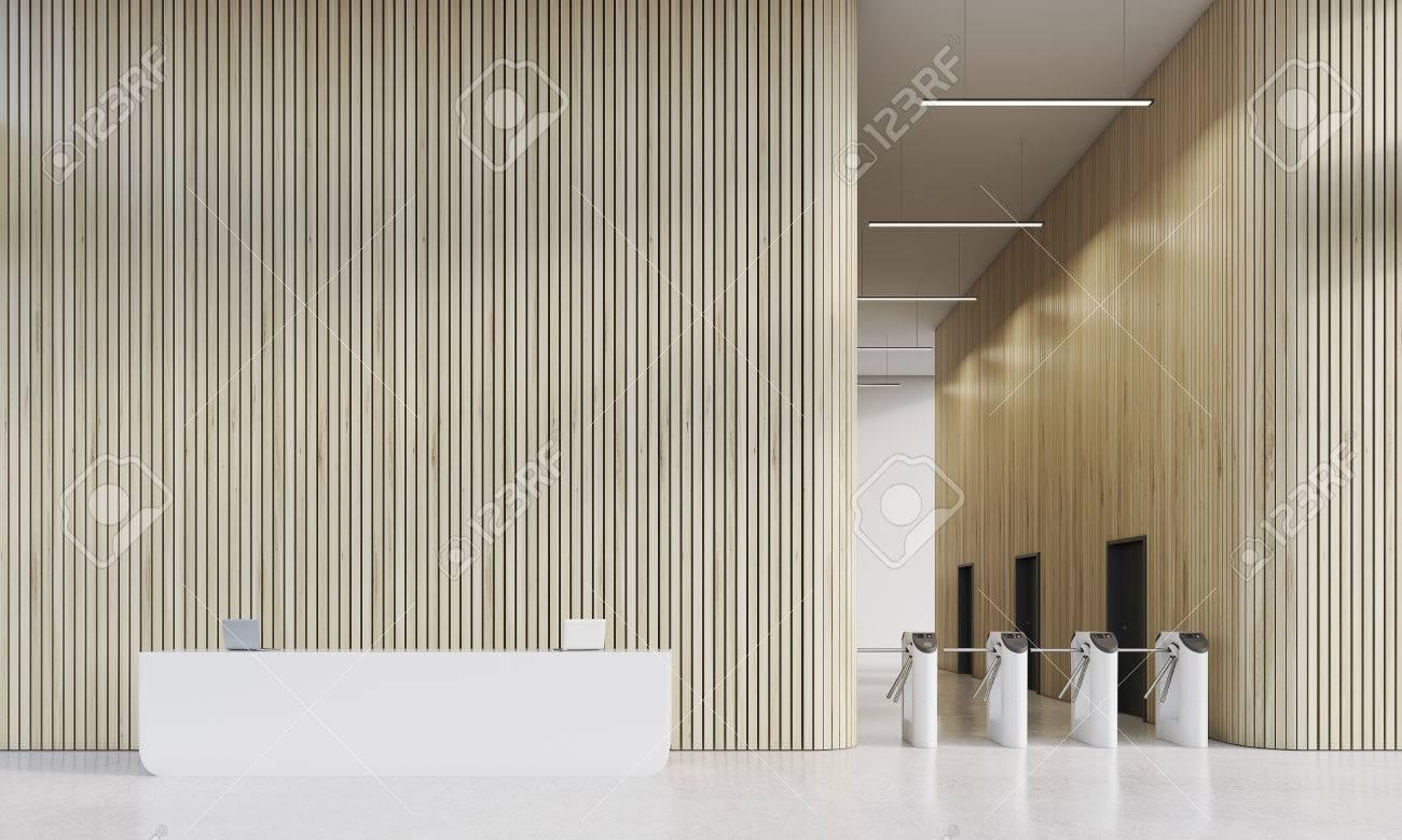 Weiß Rezeption In Der Firmen Büro Mit Drehkreuze. Konzept Der Modernen  Interieur Des Unternehmens.