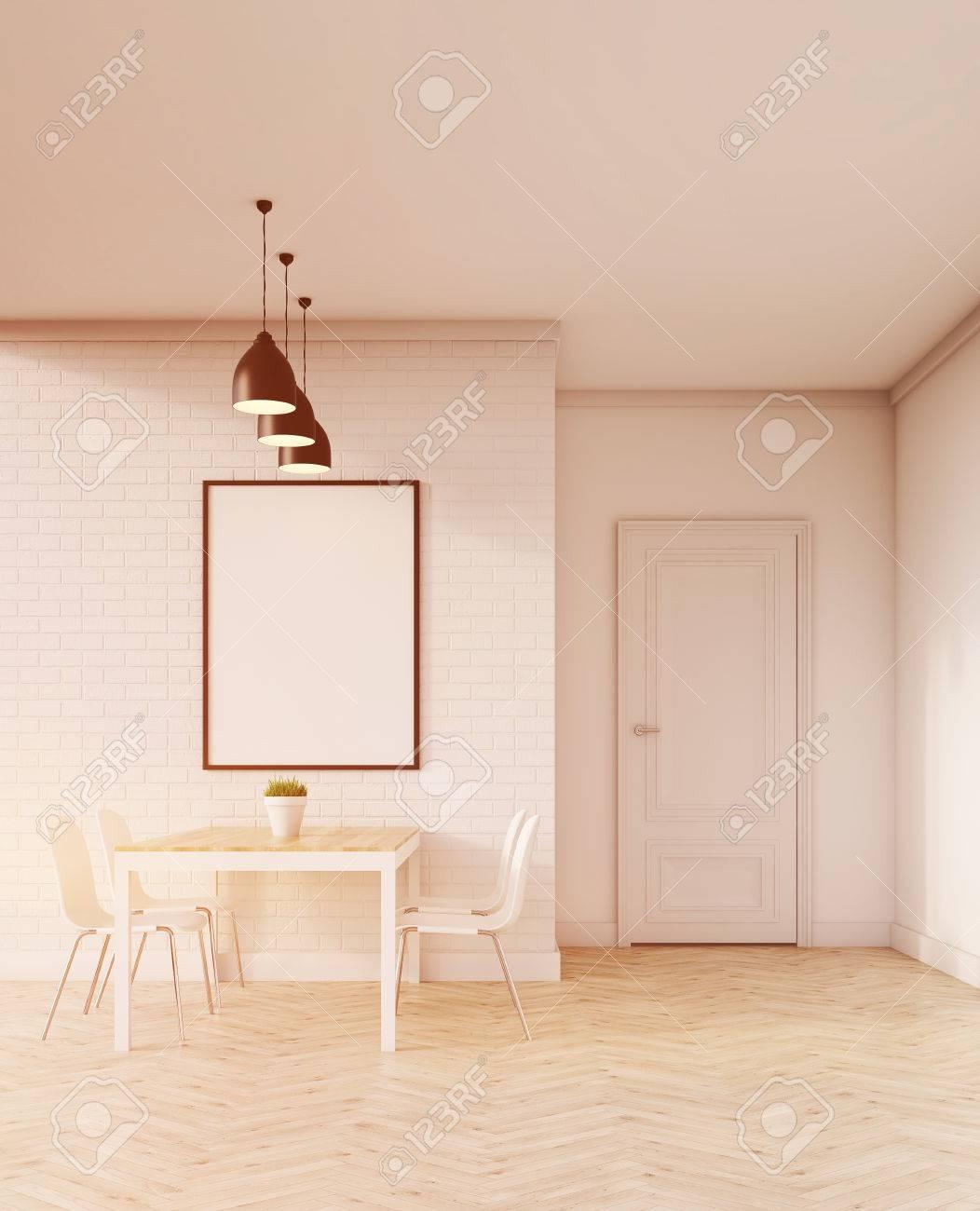 Vertikale Plakat An Der Wand über Esstisch Hängen Umgeben Mit ...