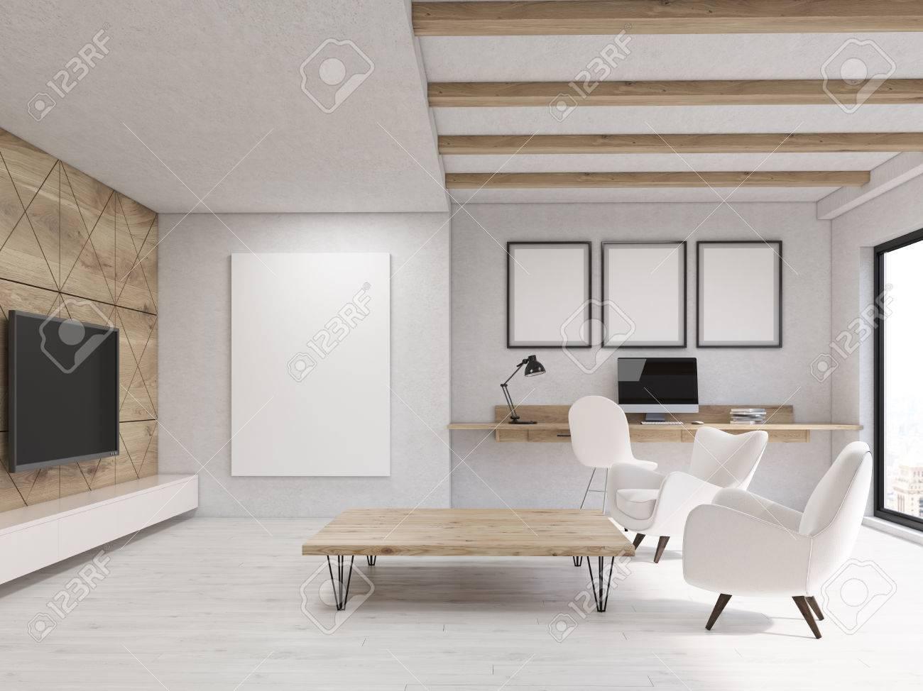 Wohnzimmer-Interieur Mit Drei Gerahmte Poster über Computer Hängen ...