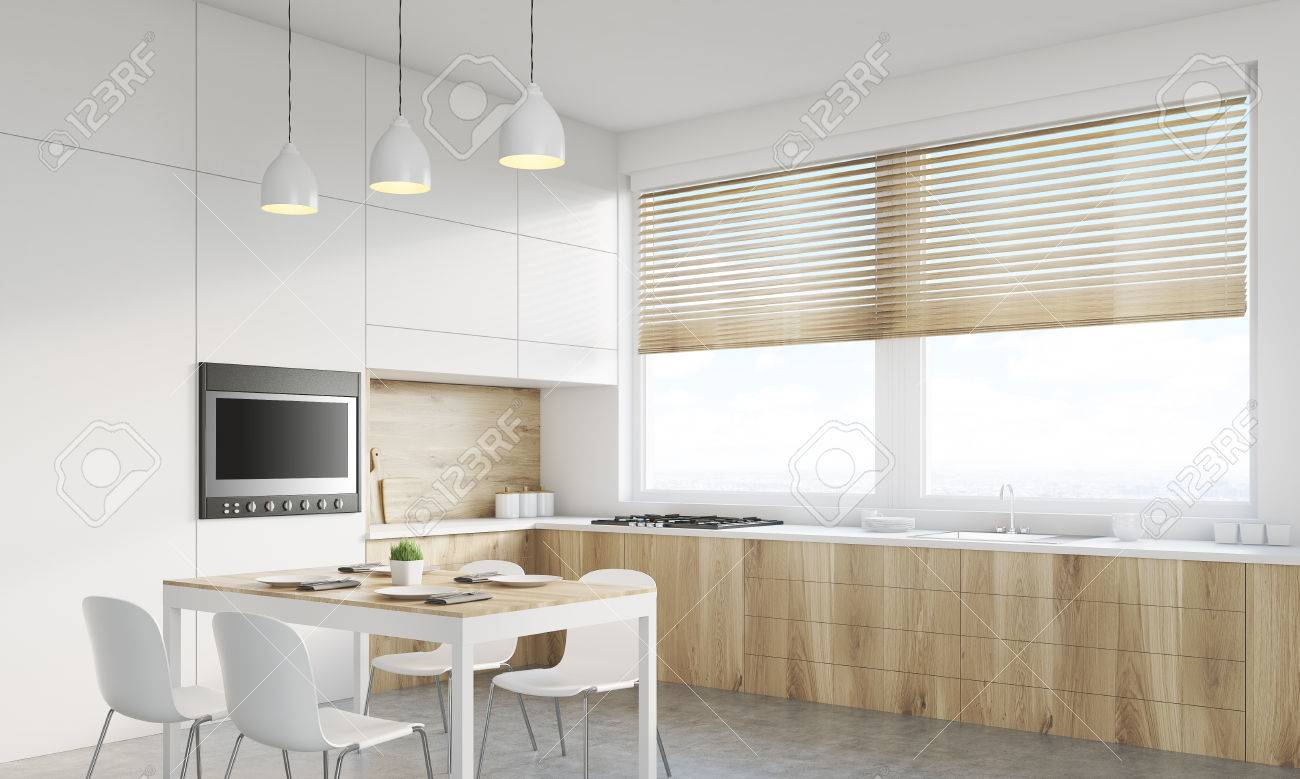 Vue En Angle De Lintérieur De La Cuisine Avec Plan De Travail La - Table de cuisine avec plan de travail