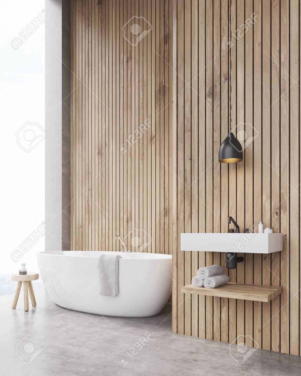 banque dimages intrieur de salle de bain avec murs en bois baignoire lavabo et tagre pour serviettes concept de dtente maquette rendu 3d