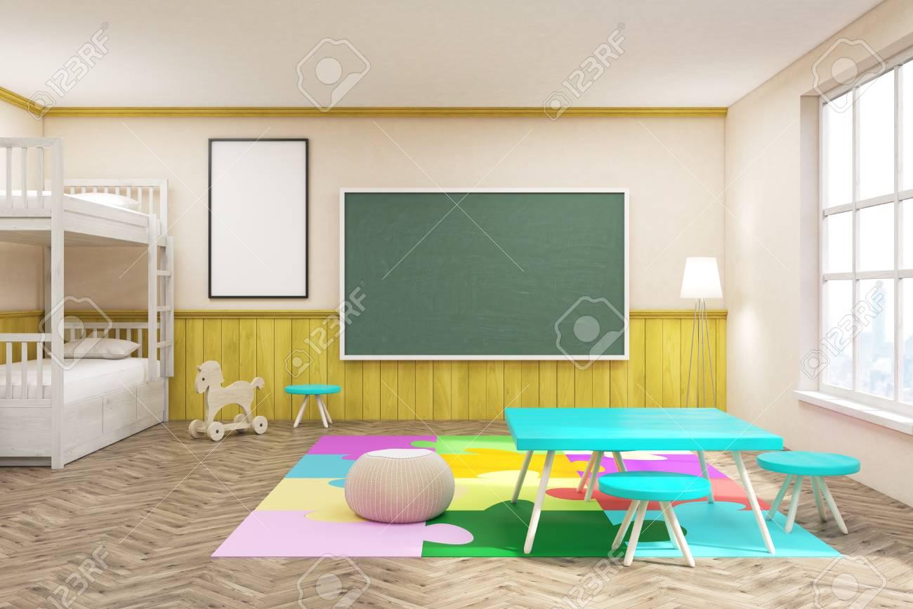 kinderzimmer mit bunten möbeln, tafel, teppich und großem fenster