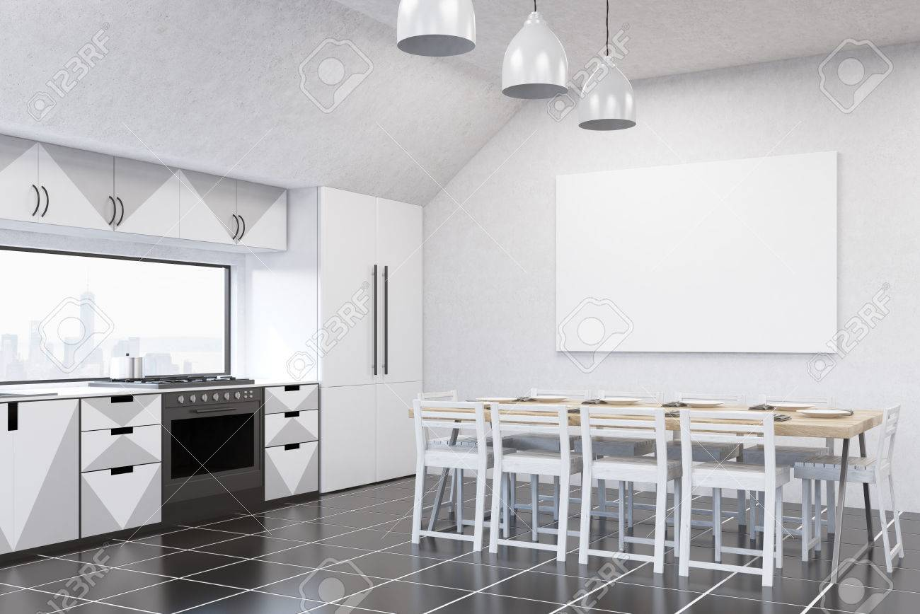 Banque Du0027images   Intérieur De Cuisine Moderne Avec Des Murs Blancs,  Mobilier Gris Et Blanc, Réfrigérateur, Cuisinière Et Grande Table à Manger.