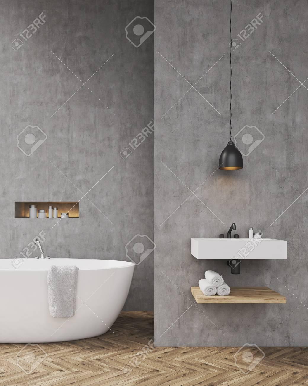 Hochwertig Badezimmer Interieur Mit Badewanne, Ein Regal Für Handtücher Und Waschbecken.  Konzept Der Entspannung