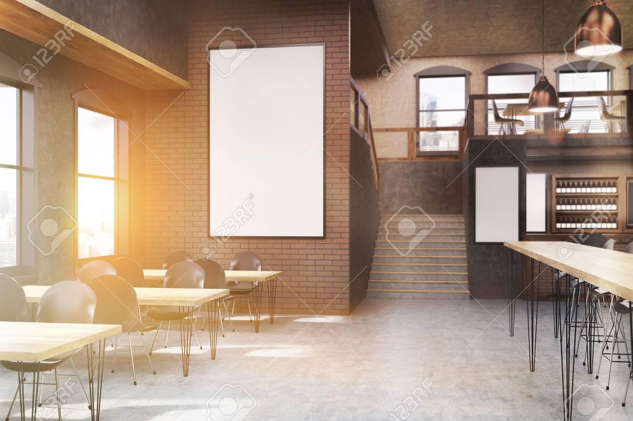 Café-Interieur Mit Plakaten, Tischen Und Stühlen. Konzept Von Außen ...
