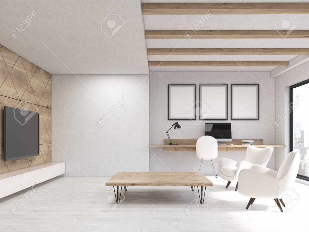 Standard Bild   Wohnzimmer Interieur In Weiß Wohnung Mit Fernseher Hängen  Holzwand, Zwei Sessel Und Arbeitsecke. Konzept Der Komfortablen Zuhause.