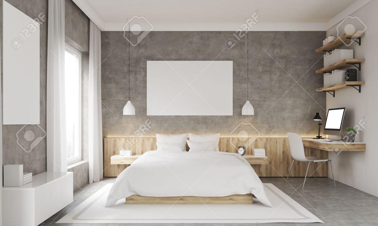 Betonwande Schlafzimmer Mit Studie Ecke Und Zwei Plakate King Size