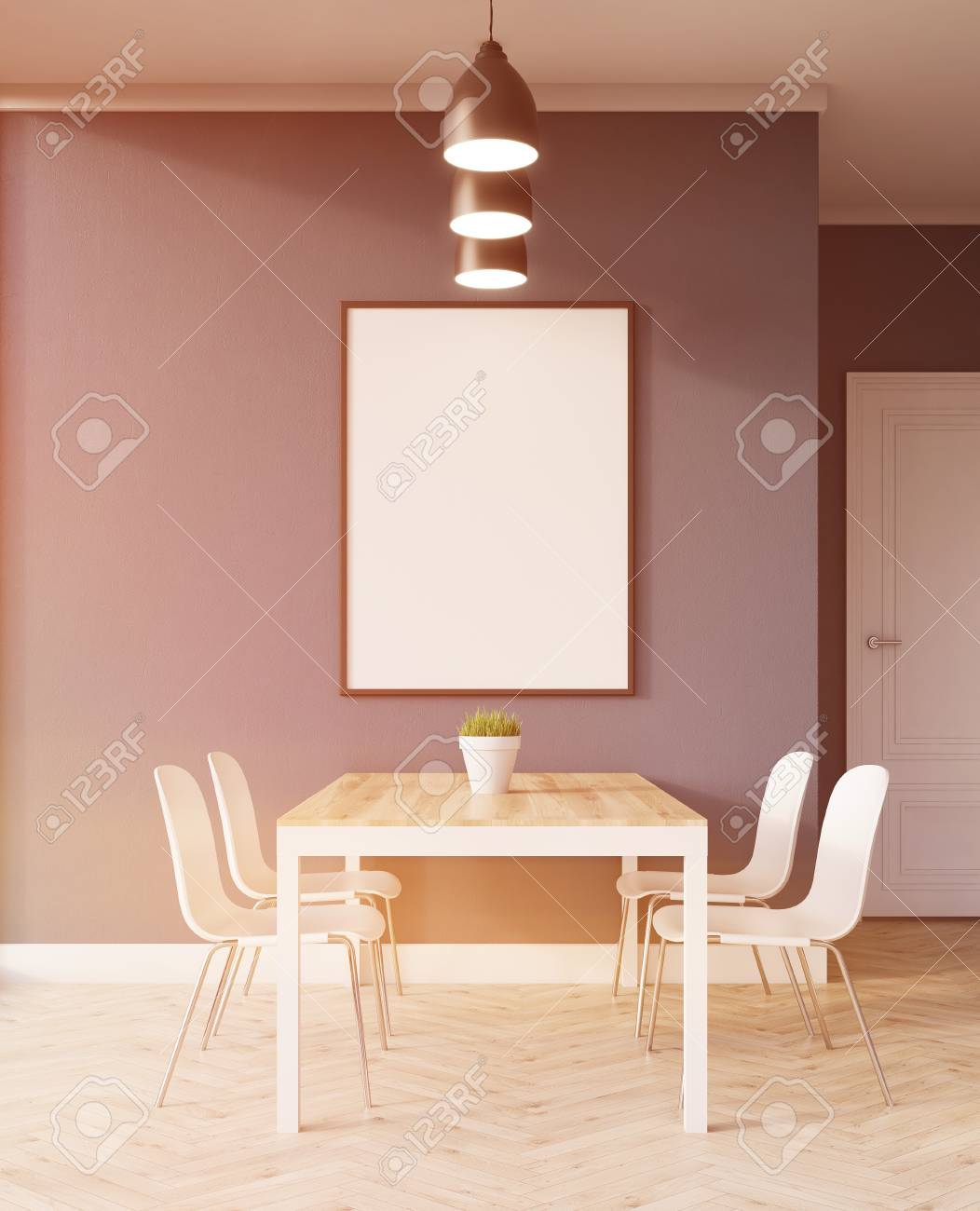 Dining Table In Kitchen With Blue Walls And Large Poster. Concept Of Home  Cooked Dinner