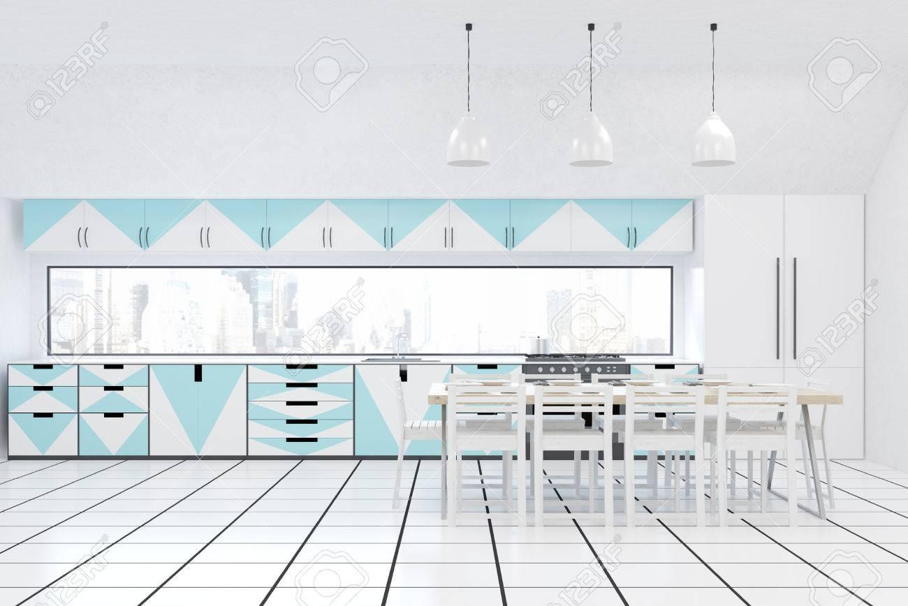 Frontansicht Der Modernen Küche Interieur Mit Weißen Wänden, Blauen ...