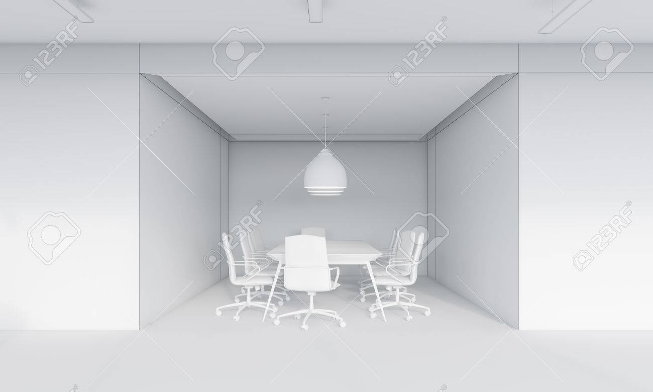 Small Conference Room Interior With Large Ceiling Lamp And Round Stock Photo Picture And Royalty Free Image Image 64248326