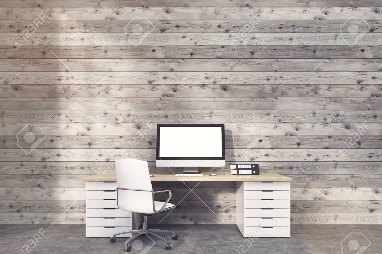 Immagini Stock Monitor Del Computer è In Piedi Sulla Scrivania Con