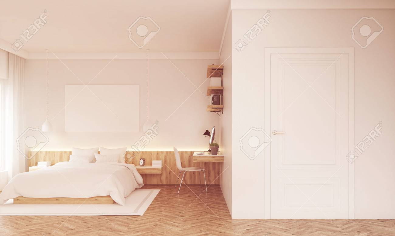 Stock Photo   Sunlit Bedroom With Poster Above Bad, Study Corner And White  Door. Concept Of Modern Home. 3d Rendering. Mockup. Toned Image
