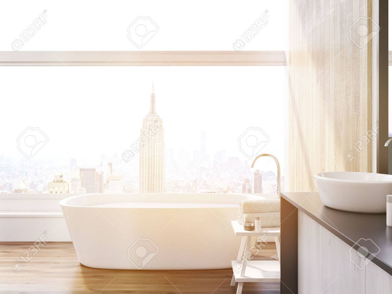 New York Bathroom With Tab; Table For Towels; Large Window And ...