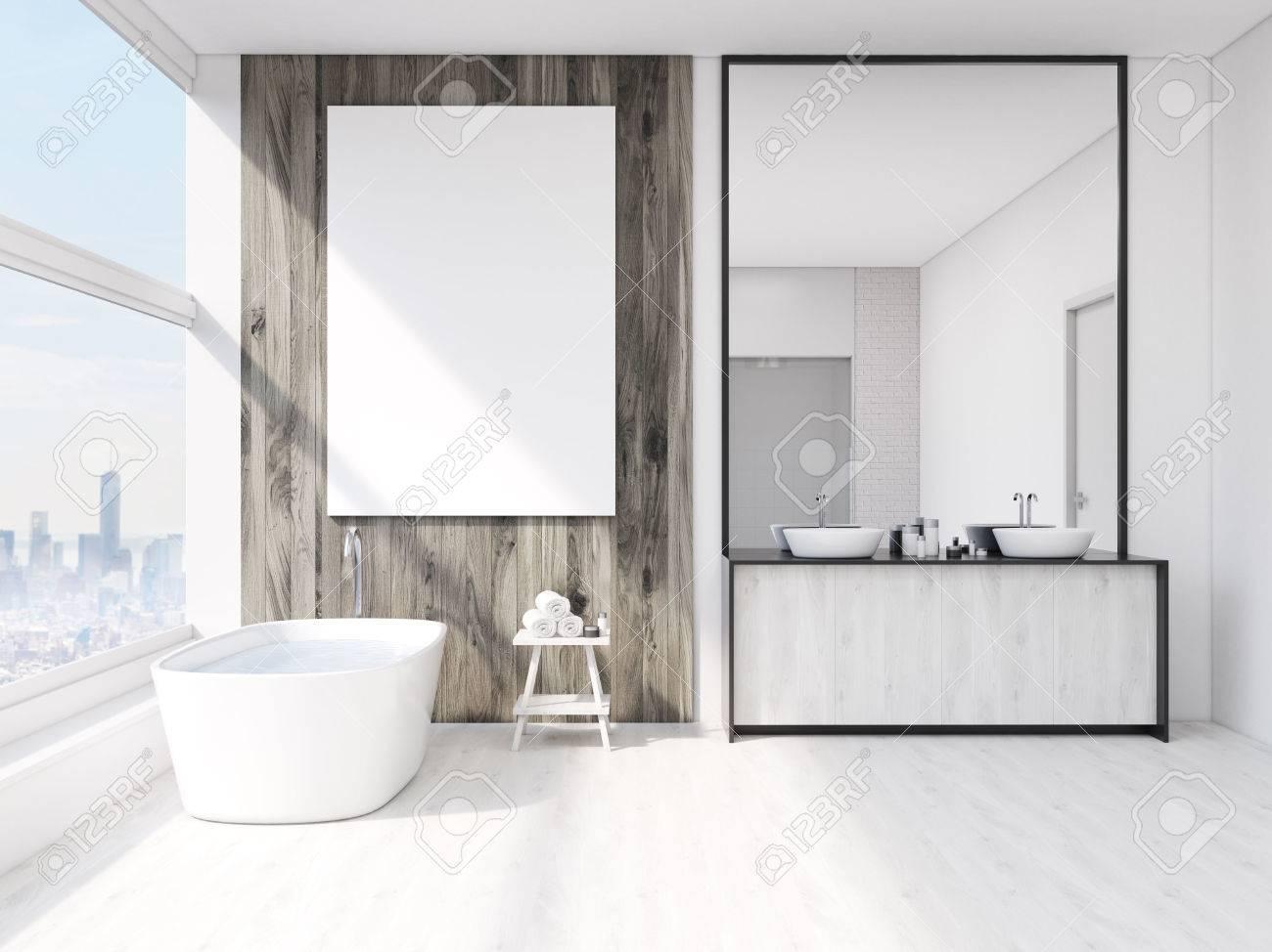 Badezimmer Interieur Mit Spiegel, Badewanne, Tisch Mit Handtüchern ...