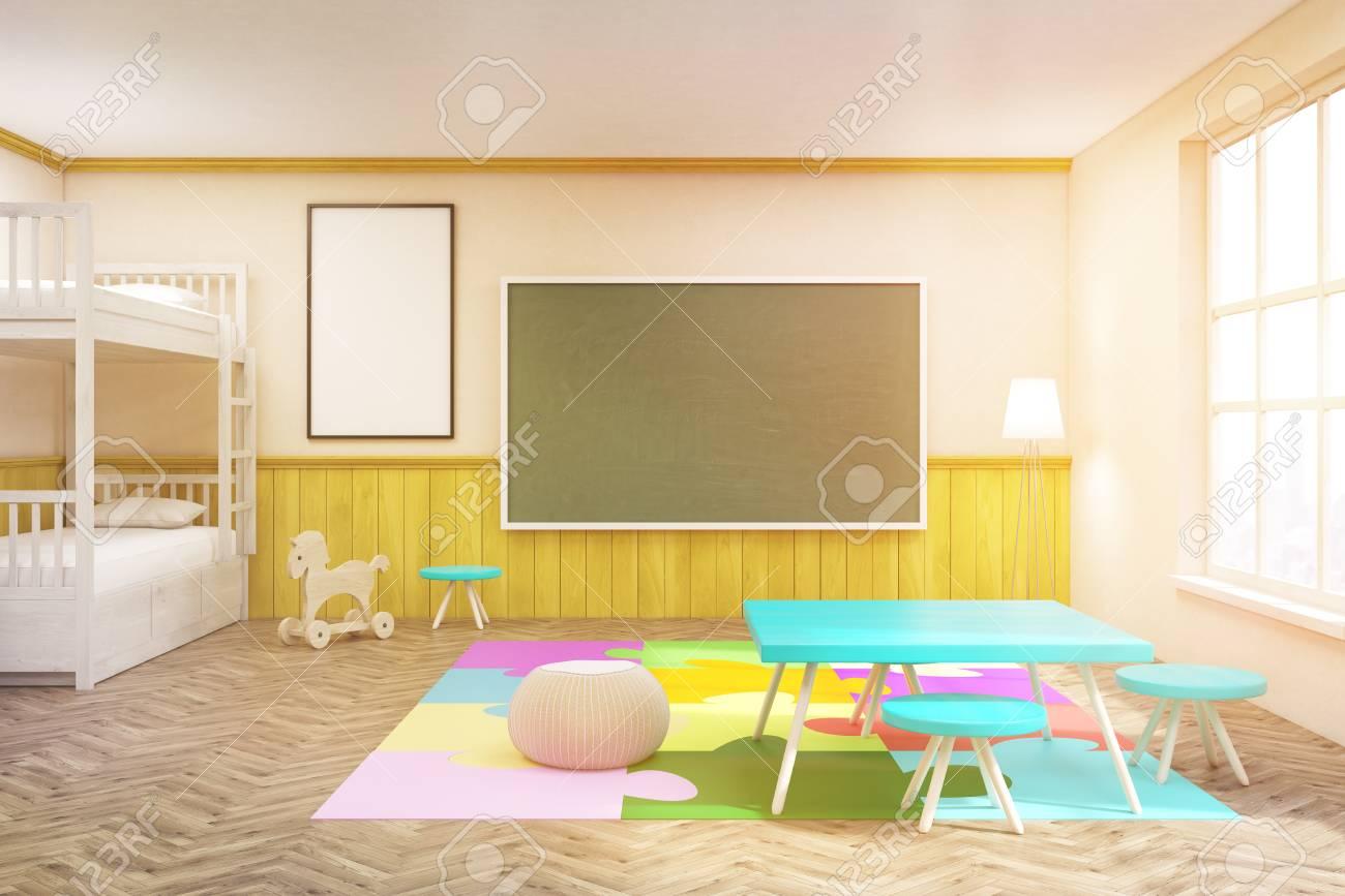 Kinderzimmer Mit Bunten Möbeln, Tafel, Teppich Und Großem Fenster. Konzept  Der Glückliche Kindheit