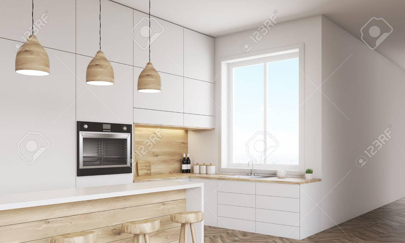 Küche Interieur Mit Platten, Backofen Und Einen Tisch Mit Stühlen ...